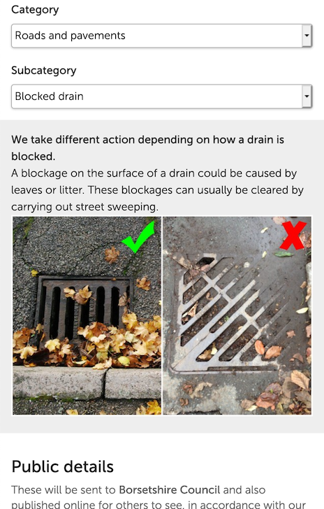 Screenshot illustrating how the notice can include guidance for the user as well as a comparison photo.