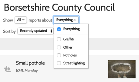 The drop-downs at the top of the report list allow you to filter which reports you see